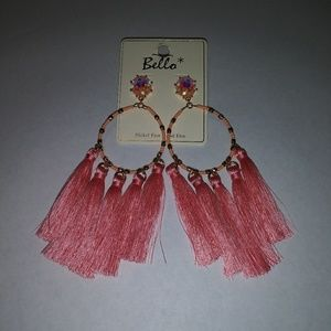 Bella Peach/Pink beaded tassel dangly earrings